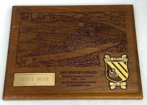 1994 USS Gridley CG-21 Named Decommissioning Crew Plaque