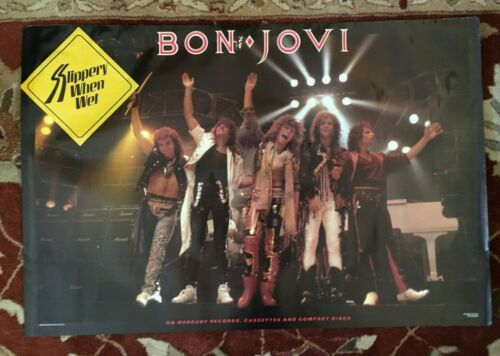 "BON JOVI  Slippery When Wet  rare original promotional poster  24""x36"""