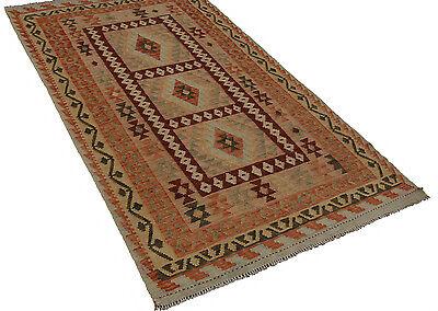 Kelim/Kilim Afghan Maimana 194 x 114 Orient- Teppich Brücke Läufer Flachgewebe