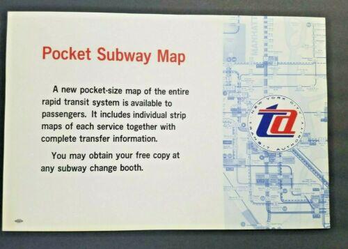 NEW YORK CITY TRANSIT POCKET SUBWAY MAP NOTICE POSTER SIGN 1960