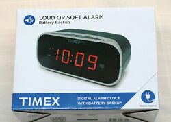 Timex Digital Electric Alarm Clock w Battery Backup Soft Loud T121BX NEW in Box