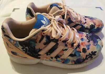 Adidas ZX Flux Size 1 Girls Torsion Athletic Shoes Sneakers Floral light pink