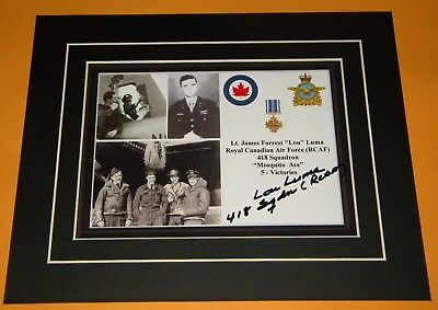 James Luma RCAF Mosquito Ace Pilot 418 Squadron Signed Display 5 Victories WWII