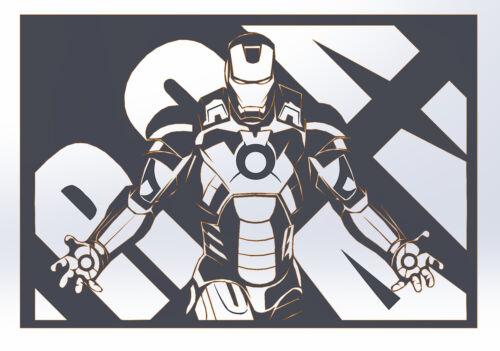 DXF File CNC g-code Industrial Laser Cut DECORATIVE PANEL Iron Man Plasma Router