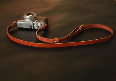 Handmade brown leather best camera neck shoulder strap adjustable  