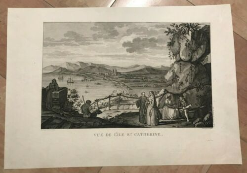BRAZIL STE CATHERINE 1797 LA PEROUSE RARE LARGE NICE ANTIQUE ENGRAVED VIEW