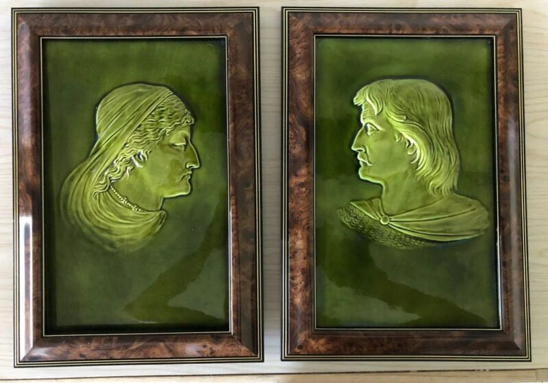 Pair of Antique Wedgwood Majolica Tiles. Green Silhouettes. Excellent Condition