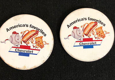 Americas Favorite Chevrolet Baseball Hot Dogs Apple Pie Chevy Tin Pins Vintage