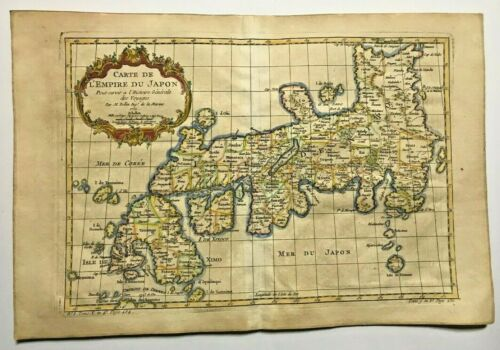 JAPAN DATED 1752 by NICOLAS BELLIN NICE ANTIQUE ENGRAVED MAP 18TH CENTURY