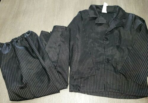 boys PIMP DADDY HALLOWEEN COSTUME 2 pc suit black white stripe 8/10 JACKET PANTS