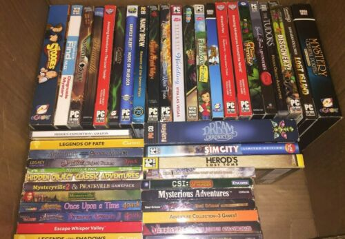 Lot of 46+ PC Game Discs Mostly Hidden Object & Some Others Many w/ Extra Games
