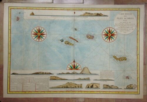ACORES ISLANDS 1791 NICOLAS BELLIN UNUSUAL VERY LARGE ANTIQUE SEA CHART