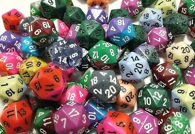 Bulk Dice (Chessex (5) D20 Random Color Polyhedral 20 Sided Dice Set, Gaming Lot D&D)