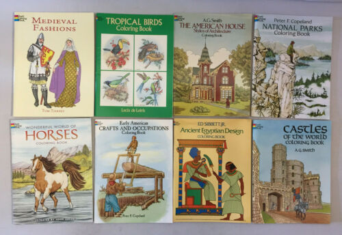 Dover Coloring Books Ancient Egyptian Design Castles Early American Lot of 13 PB
