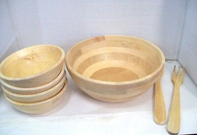 Wood Salad Bowl Set With Bamboo Servers Best For Serving Salad Pasta