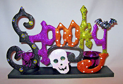 """LARGE """"SPOOKY"""" METAL CANDLE HOLDER NEW"""
