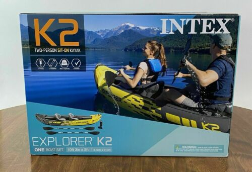 ✅New Intex Explorer K2 Kayak 2-Person Inflatable Set w/ Oars & Pump Ships Today