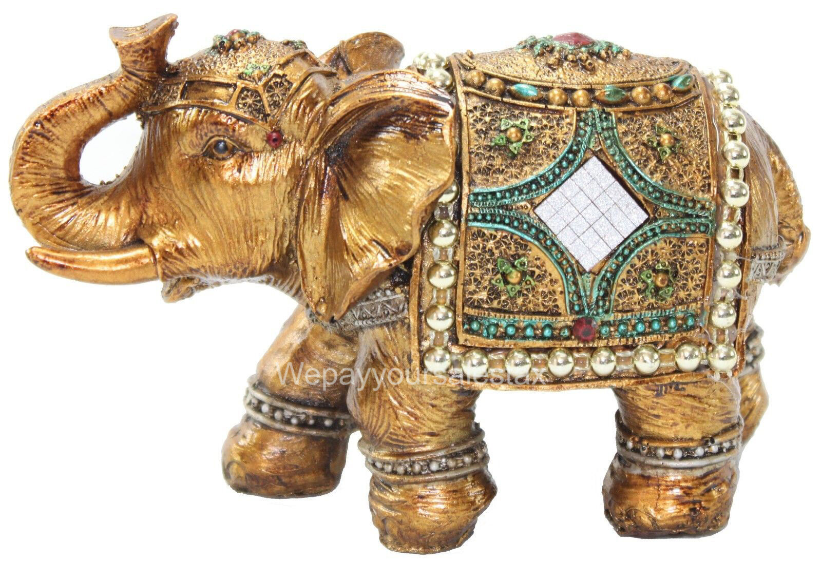 feng shui brass color 6 elegant elephant statue gold mini buddha figurine ebay. Black Bedroom Furniture Sets. Home Design Ideas
