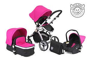 BLACK-PINK-CARRERA-SPORT-3-in-1-Baby-Travel-System-Pushchair-Pram-Stroller
