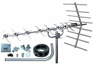 Digital TV Aerial Slx 48 Element High Gain Wideband Freeview HD Outdoor/Loft Kit