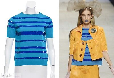NWT LOUIS VUITTON Blue Sequin Knit TOP XS FR-34