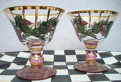 $150 RARE SET NWT RETIRED  MACKENZIE CHILDS THISTLE TARTAN GLASS SORBET DISHES