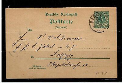 Ganzsachen Deutsches Reich Antwortteil P 38 von Berlin nach Leipzig  -int.96