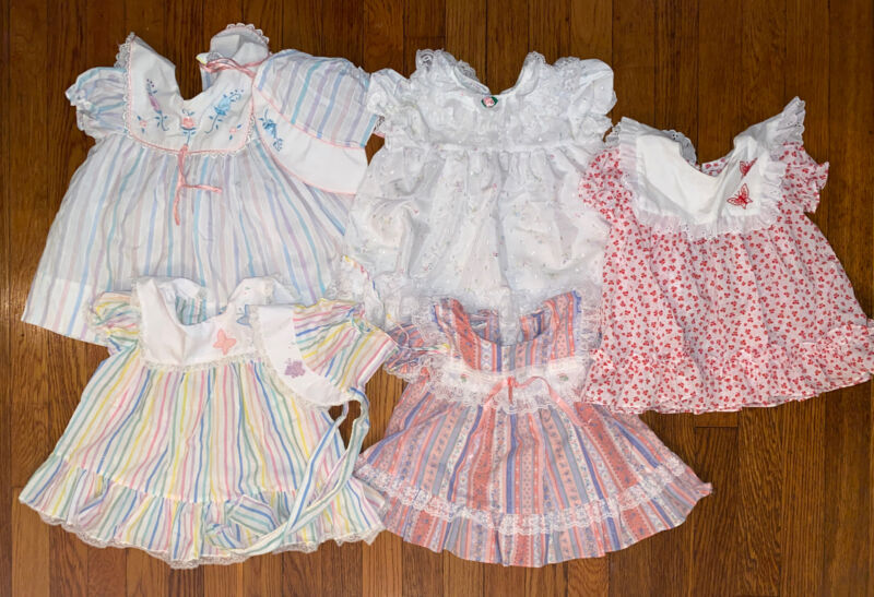 Vintage Child Toddler Girl Floral Ruffle Lace Bonnet Lot 12-24 Months