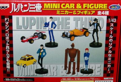 NEW SEALED Banpresto LUPIN the 3rd MINI CAR & FIGURE SET COMPLETE 4 pc.set