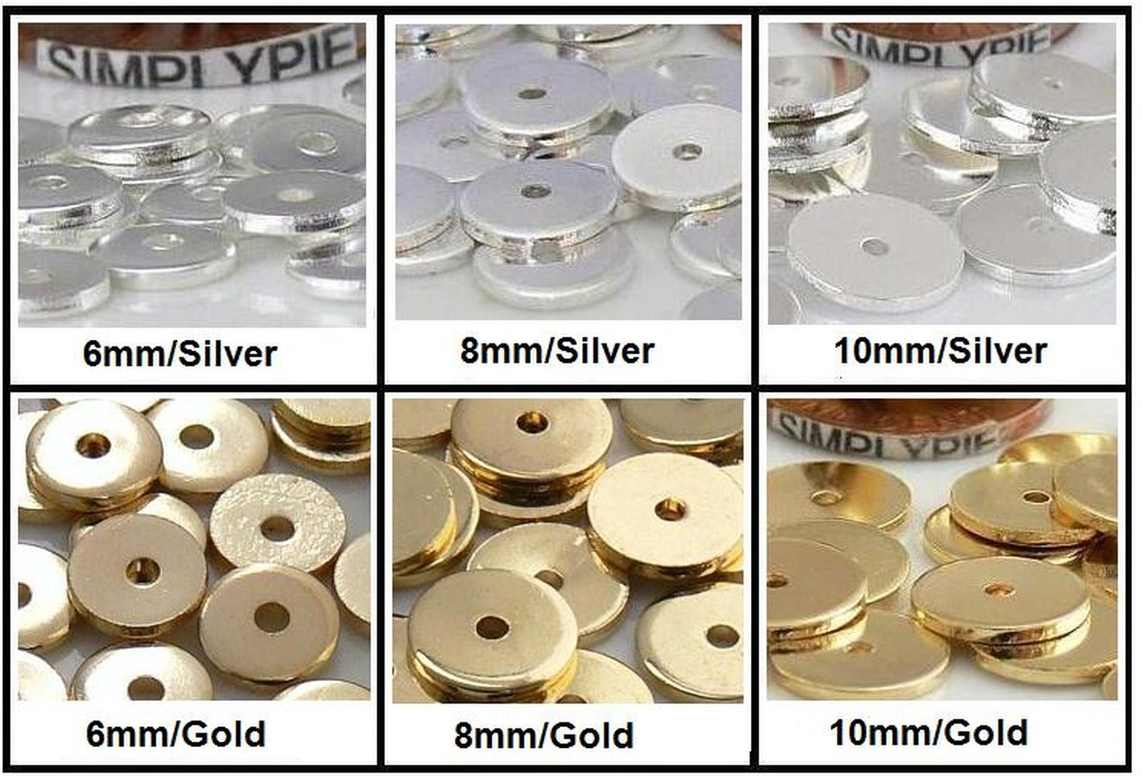 Beads - Flat Disc Metal Spacer Beads 50 Pcs Choose Size and Color