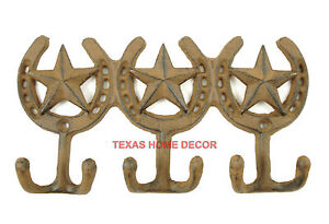 Cast Iron Wall Hook Key Holder Western Rustic Coat Hanger Star Horseshoes