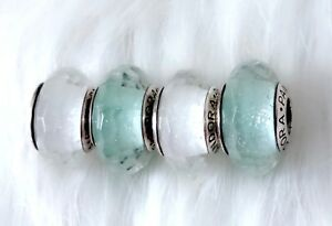 f4a432703 4 Pandora silver Murano Christmas Mint Shimmer White Glass Look Beads Charm  #1