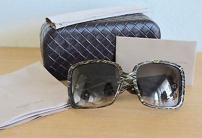 NIB Bottega Veneta BV 90/S 3N5 Oversized Olive Square Sunglasses Classic Weave