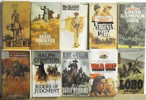 Lot of 10 WESTERN FRONTIER COWBOY NOVELS Free US Shipping Read List Lot #H574