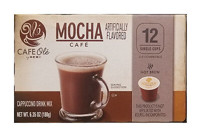 Cappuccino-drink-mix (HEB | MOCHA CAFE | Artificially Flavored | Cappuccino Drink Mix | 12 Single Cups)