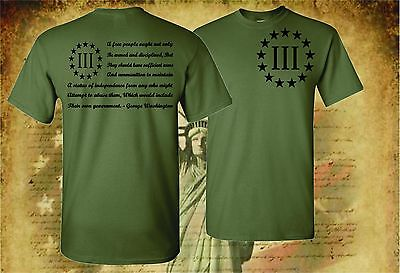Patriotic Tee Shirts (THREE PERCENTER PATRIOT APPAREL USA T-SHIRT MOLON LABE 2ND AMENDMENT 3)