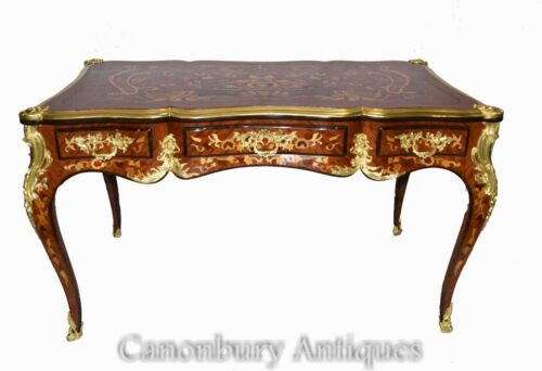 French Empire Bureau Plat Desk - Marquetry Inlay Writing Table