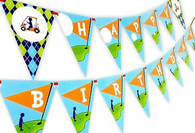 Happy Birthday Golf - Golf Party Happy Birthday Banner Pennant
