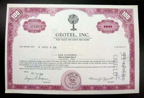 GEOTEL, INC 1968 Stock Certificate