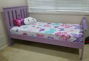 *GIRLS PURPLE SOLID TIMBER SINGLE BED - WITH LOVE HEART CUT OUT* Upper Coomera Gold Coast North Preview