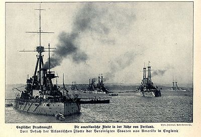 Englischer Dreadnought & amerikan.Flotte Portland Historische Aufnahme von 1910