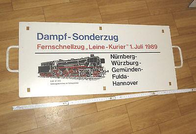 Original !! Zuglaufschild Sonderzug LEINE KURIER 1989 DB Dampflokomotive RARE