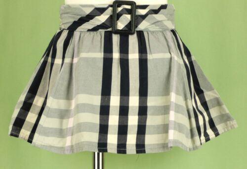 346 Burberry girl gray white black plaid check pleated skirt EUC 3 (98 cm)