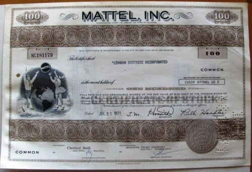 Stock certificate Mattel, Inc. 1971 100 shares (Toys maker) state of Delaware