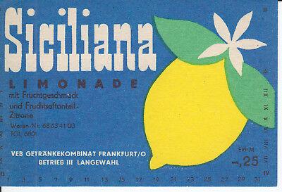 1 Etikett Langewahl ,  Siciliana Limonade ,   DDR