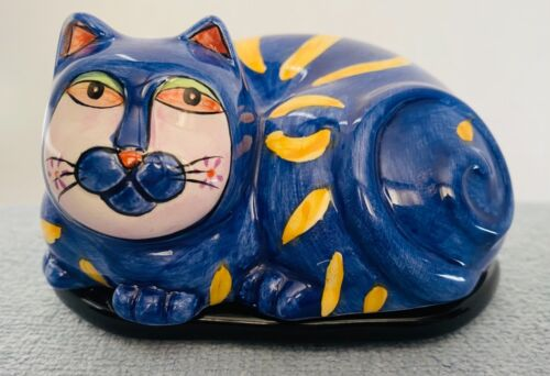 HANDPAINTED CAT TRINKET BOX from MILSON & LOUIS - BLUE with YELLOW EYES, STRIPES