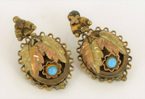 ANTIQUE YELLOW GOLD FILLED BEAUTIFUL TURQUOISE FLOWER DANGLE EARRINGS VICTORIAN