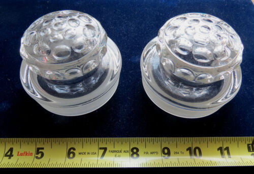 PAIR of ANTIQUE GLASS LIDS for COUNTER CANISTER CANDY JARS