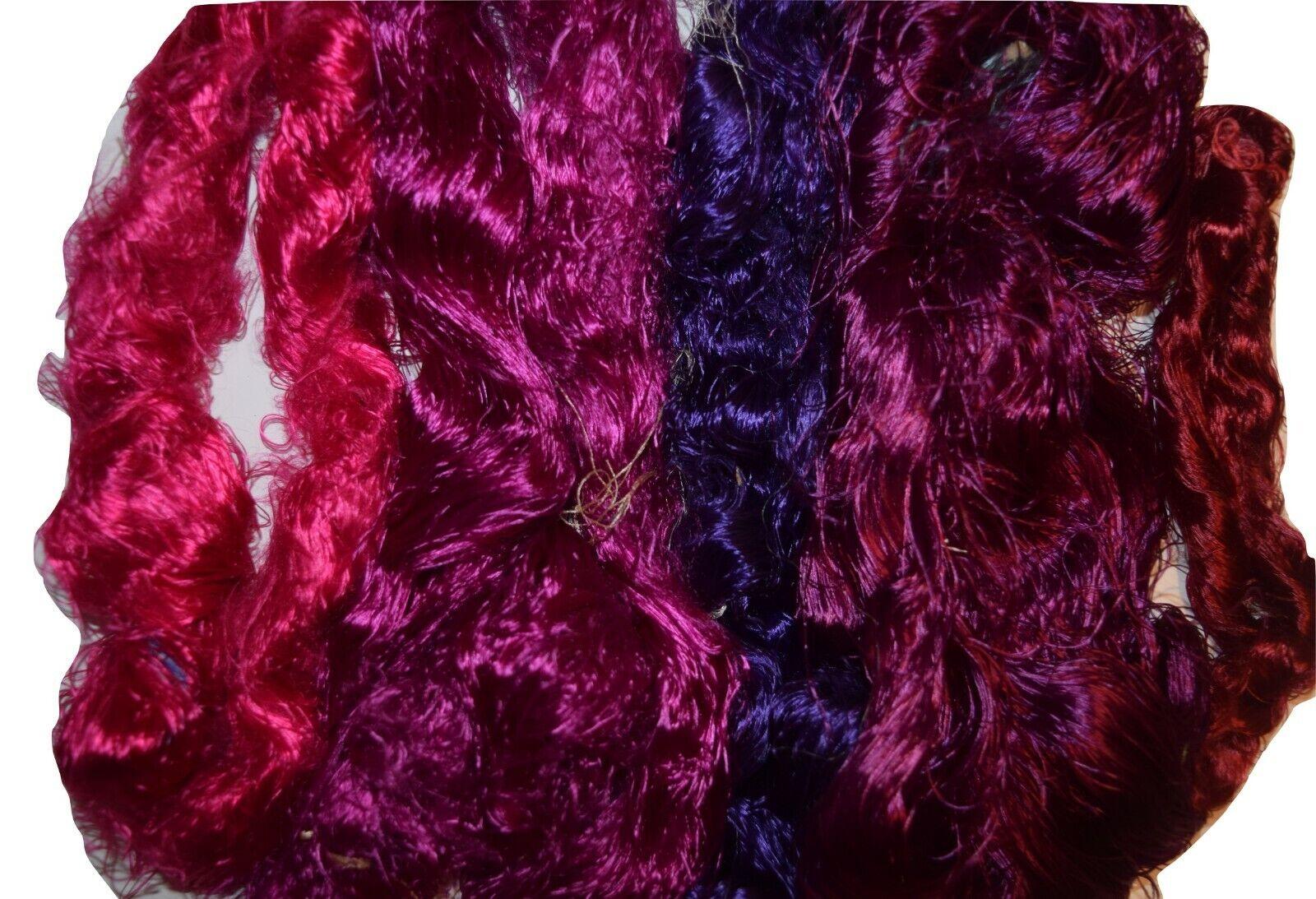 800g Pure Eri Peace Assam Waste silk Fiber Handmade Spinning Felting Crafting