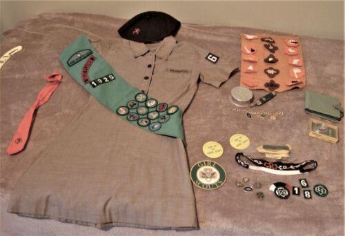 Girl Scout Uniform w/compass, knife, cup, wallet, bracelet, badges, +, size 8